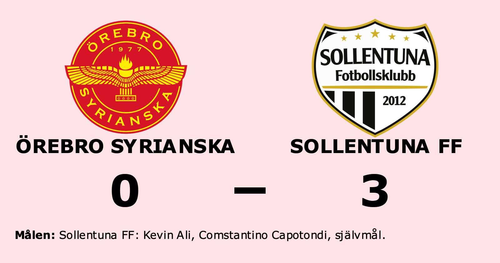Klar seger för Sollentuna FF mot Örebro Syrianska på Mellringe IP