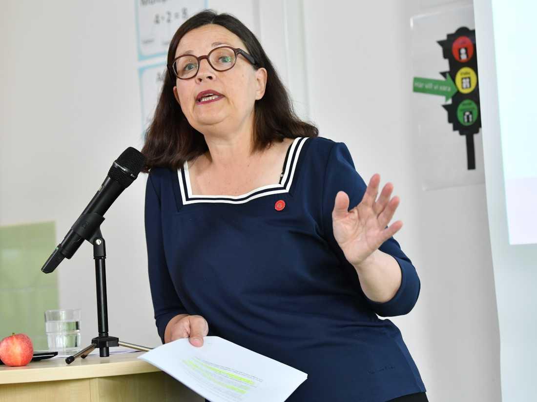 Utbildningsminister Anna Ekström (S) presenterar regeringens skolpaket i budgetpropositionen för 2020.