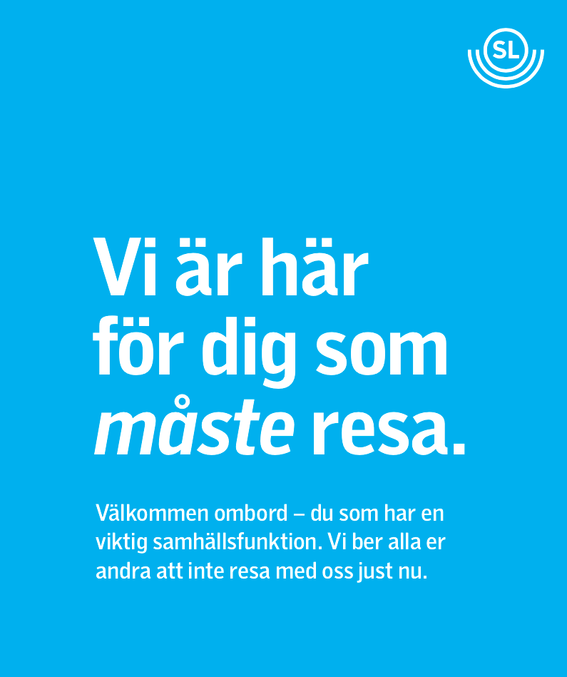 Annonsen från SL som bland annat publicerats i Dagens Nyheter under lördagen.