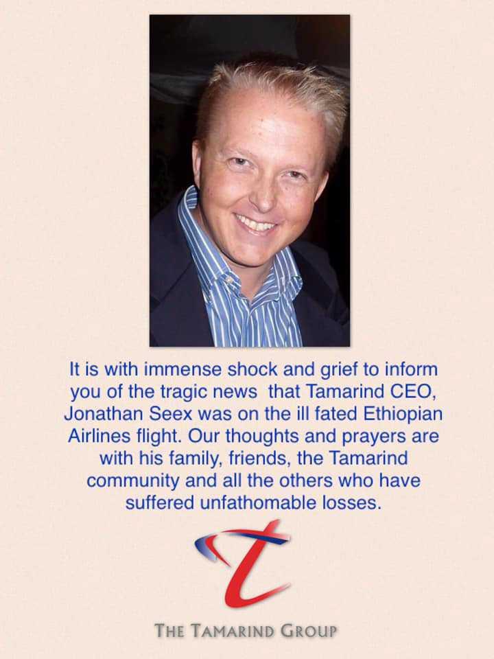Jonathan Seex dog i flygkraschen i Etiopien.