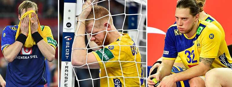 Svenska spelarna deppar vid slutsignalen.
