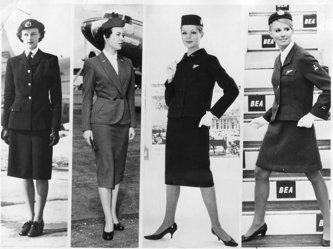 Mellan år 1947 och 1967 skedde en del förändringar i kabinpersonalens klädsel.