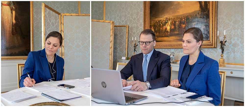 Kronprinsessan Victoria och prins Daniel jobbar hemifrån under coronakrisen.