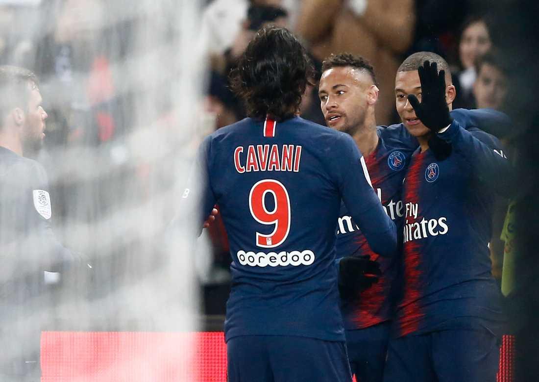 Cavani, Neymar och Mbappé hade stor show mot Guingamp i januari
