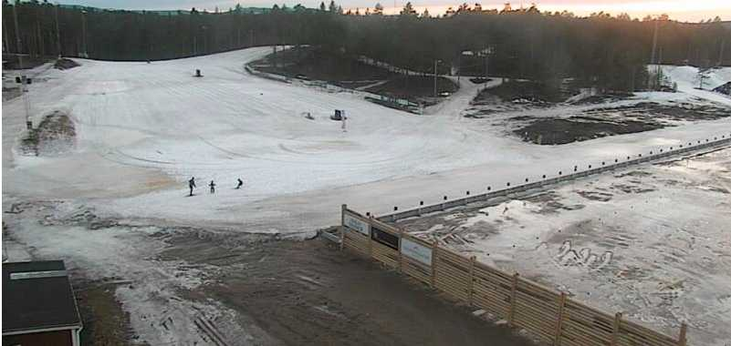 Så här ser det ut på Mora skidstadion 10 februari