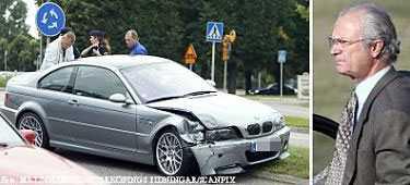 Fronten på kungens silverfärgade BMW M3 trycktes in vid olyckan. Varken kungen eller föraren i den andra bilen skadades