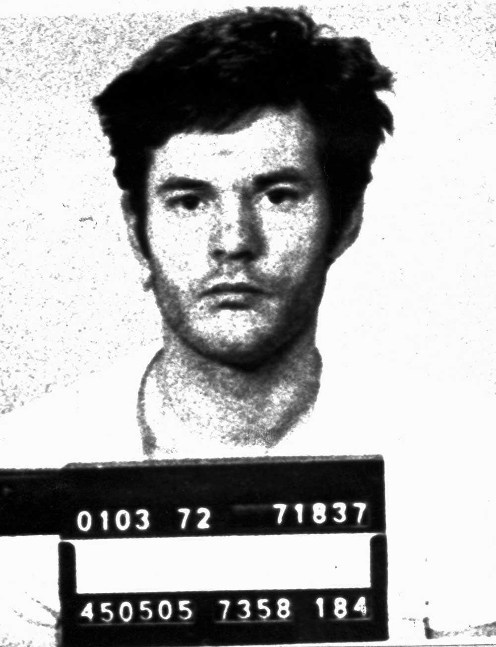 Lars-Inge Svartenbrandt fotad av polisen i samband med ett gripande 1972.