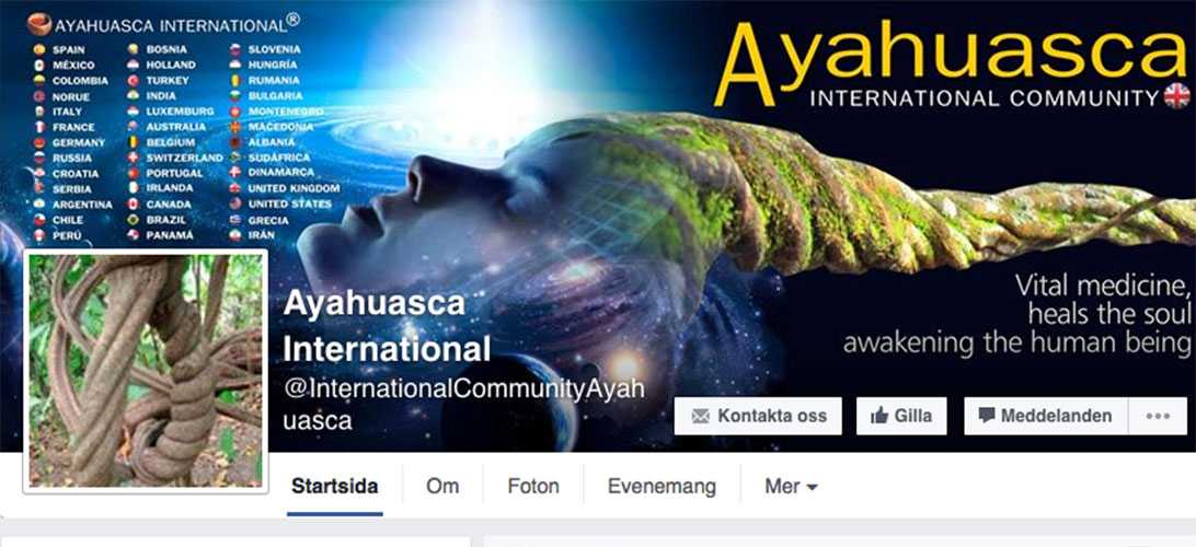 Ayahuasca Internationals Facebooksida marknadsför andliga upplevelser.