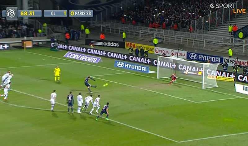 Zlatan satte andra försöket högt i mål.