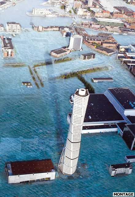klicka på bilden för att få fram en stor version Så här kommer det att se ut i Malmös västra hamn år 2200 – om inget görs snabbt.
