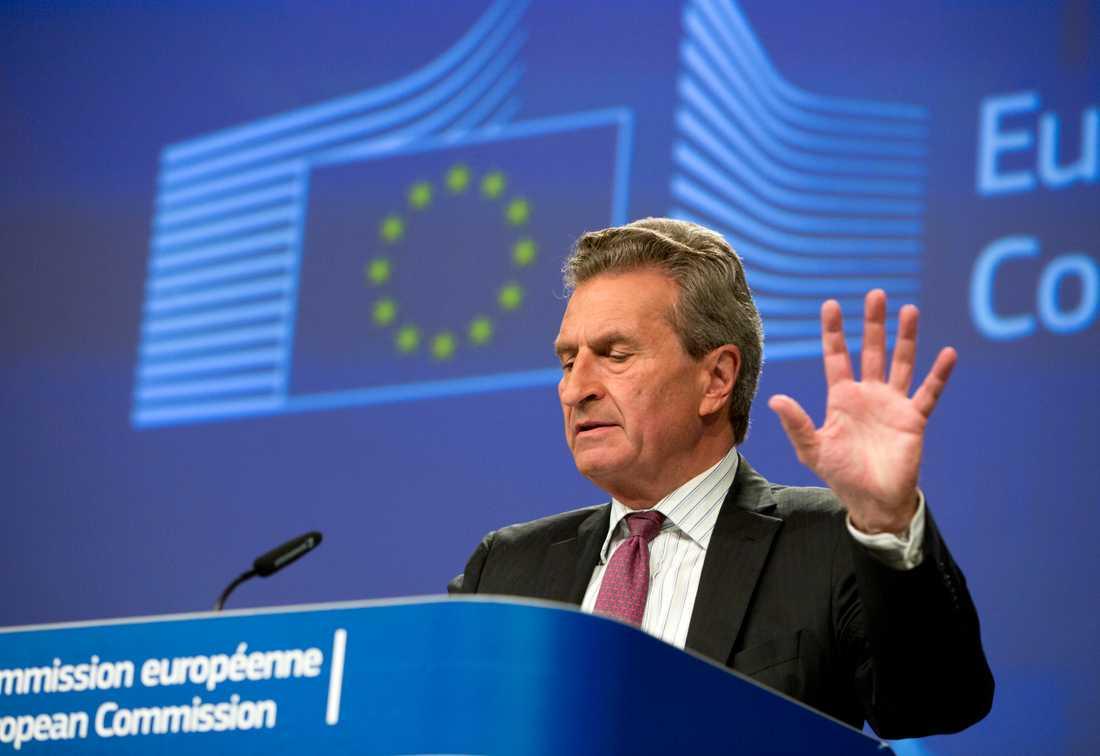 Tyske Günther Oettinger är EU:s budgetkommissionär och kampanjar intensivt för det förslag han lade fram redan i maj 2018. Arkivbild.