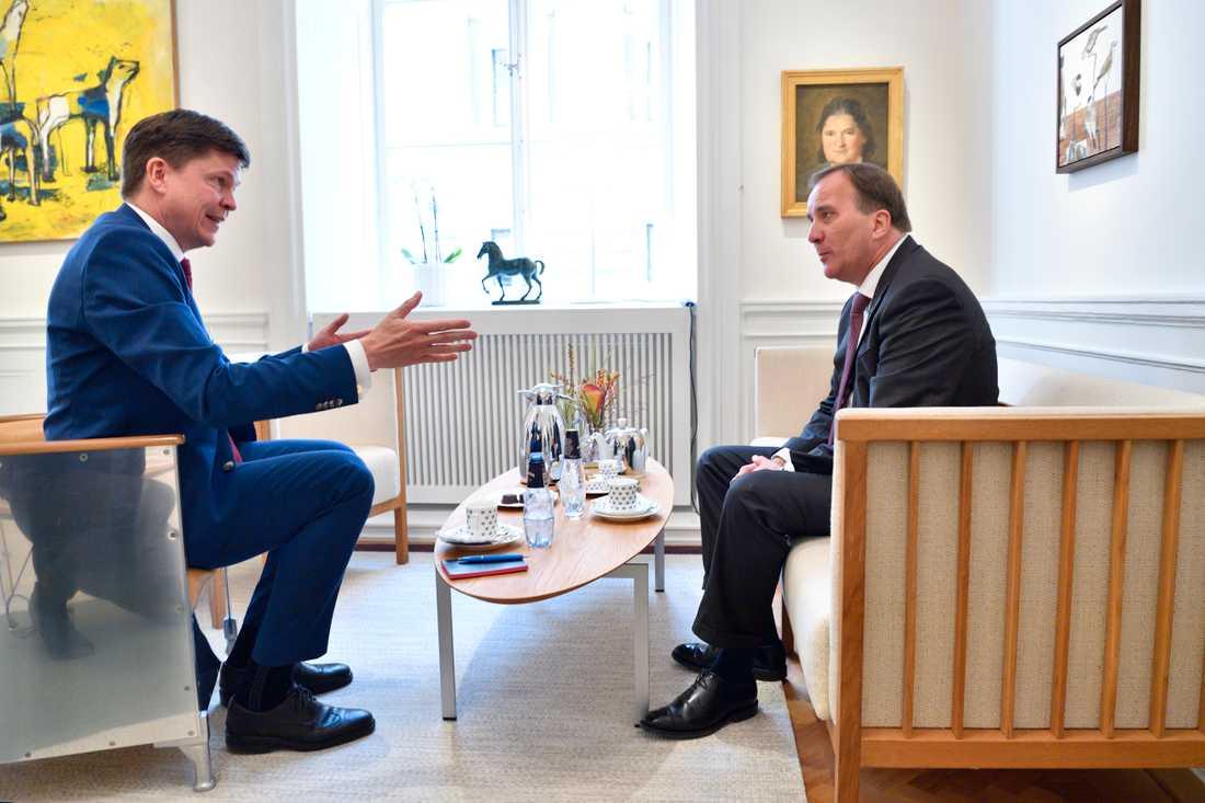 Riksdagens talman Andreas Norlén och Socialdemokraternas partiledare Stefan Löfven.