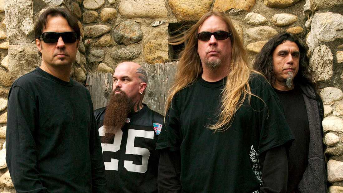 Slayer 2013, från vänster Dave Lombardo, Kerry King, Jeff Hanneman och Tom Araya.