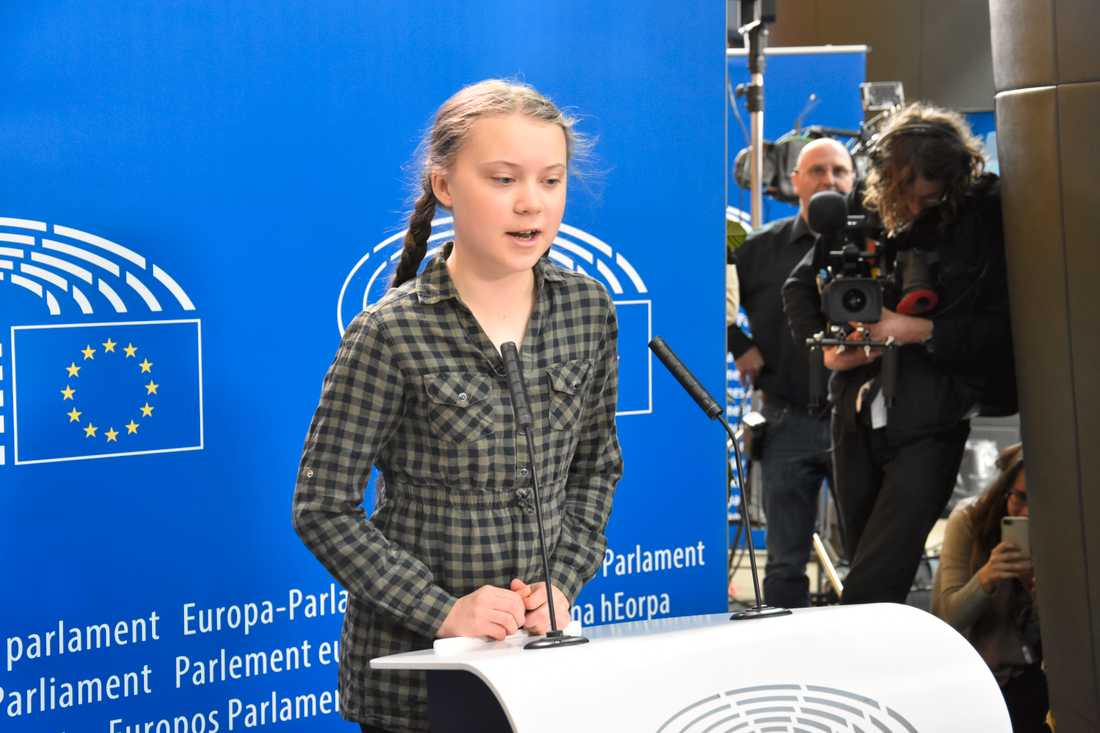 Klimataktivisten Greta Thunberg håller presskonferens i EU-parlamentet i Strasbourg.