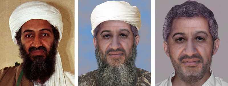 Bin Ladin 1998, och som FBI tror att han ser ut nu.
