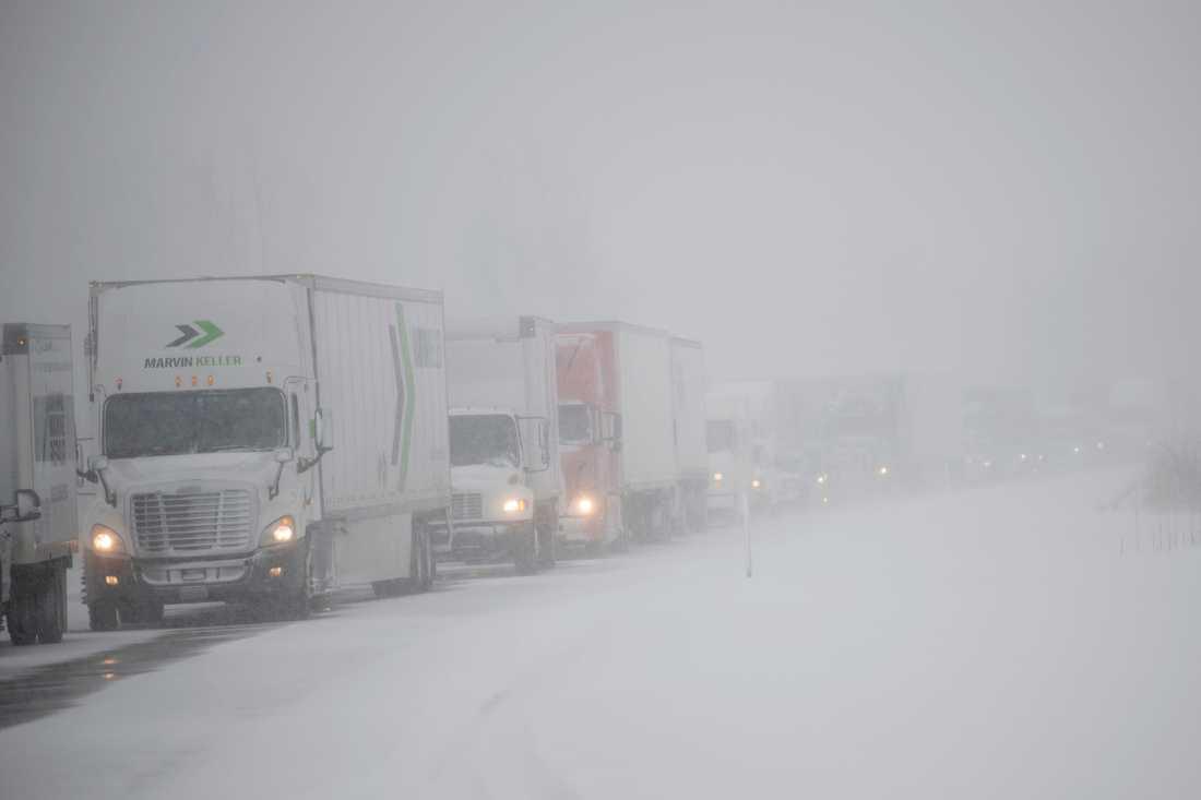 I Michigan orsakade ett snöoväder stora trafikstörningar på tisdagen.