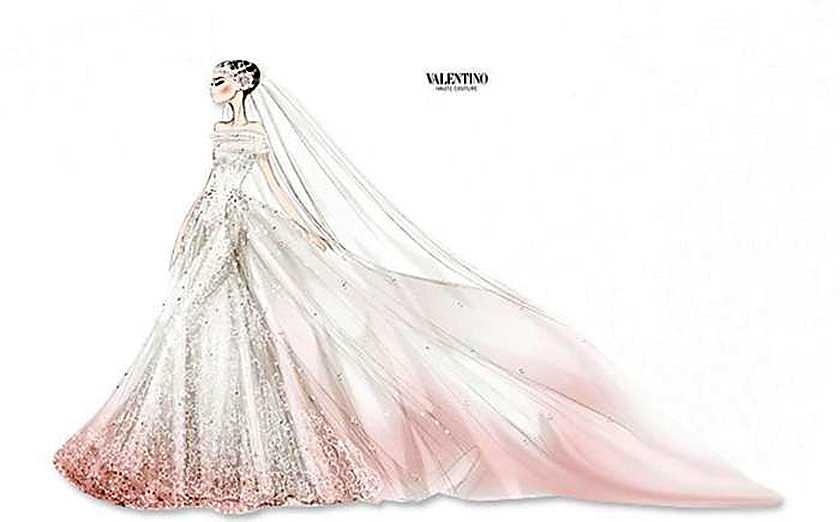 Så här såg Valentinos skiss på Anne Hathaways brudklänning ut. Den nedersta kanten och slöjan är rosafärgad.