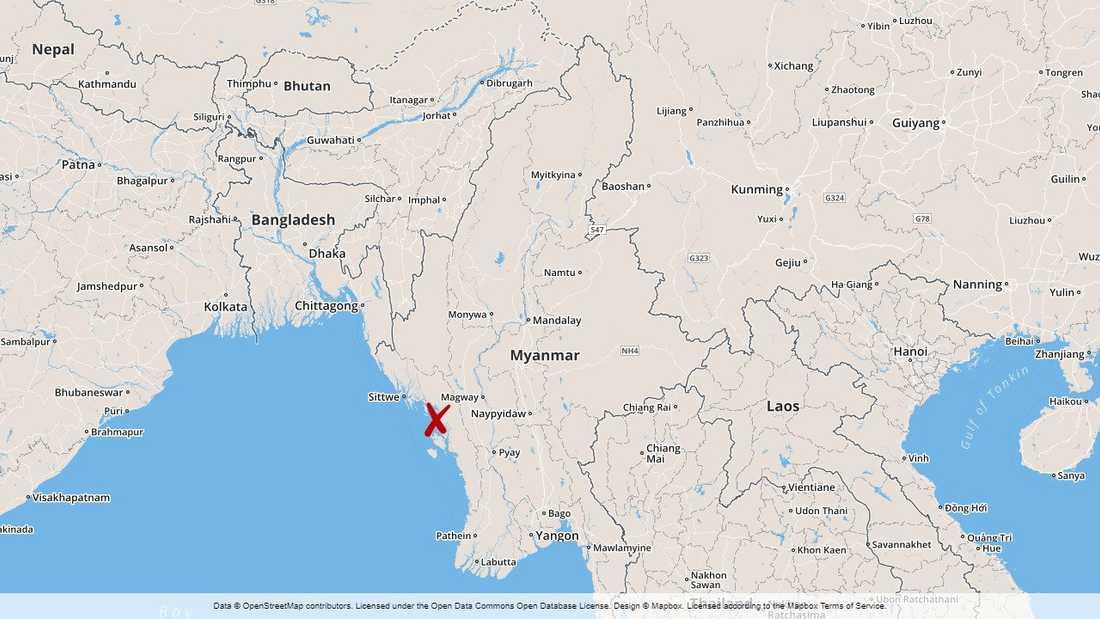 Delstaten Rakhine i Myanmar.