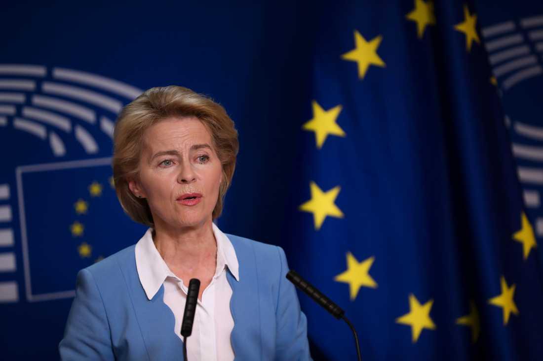 Tyska tilltänkta nya EU-kommissionsordföranden Ursula von der Leyen på besök i EU-parlamentet i Bryssel.