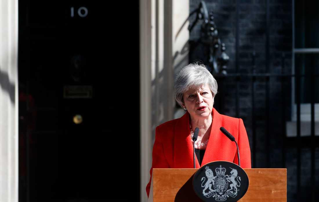 Theresa May under talet där hon berättade att hon avgår.