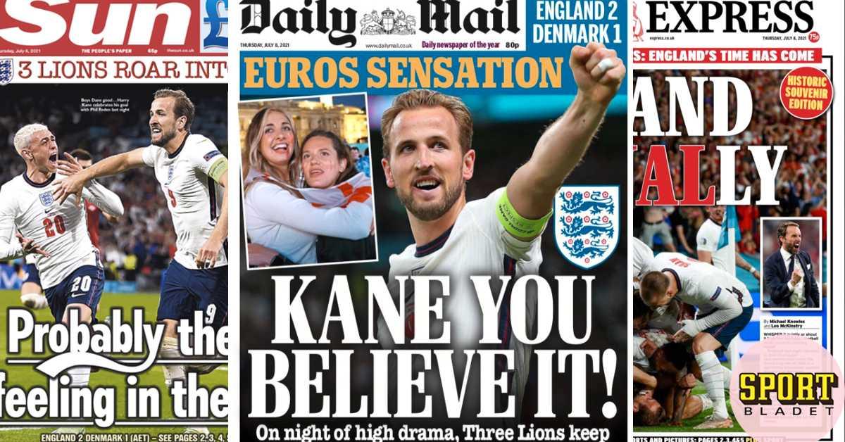 Engelska medier hyllar Harry Kane och hånar Danmark
