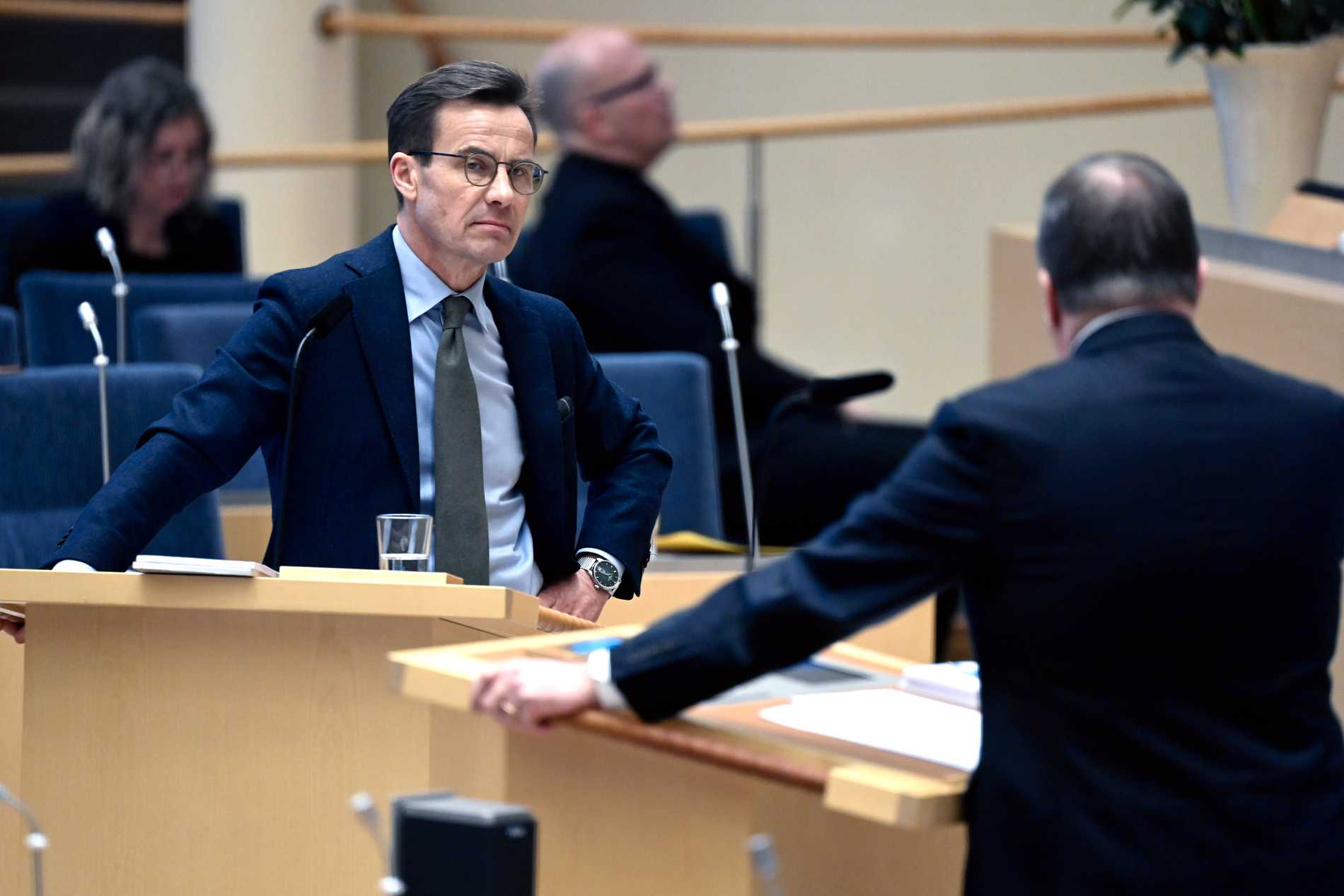 Ulf Kristersson och Stefan Löfven under partiledardebatten.