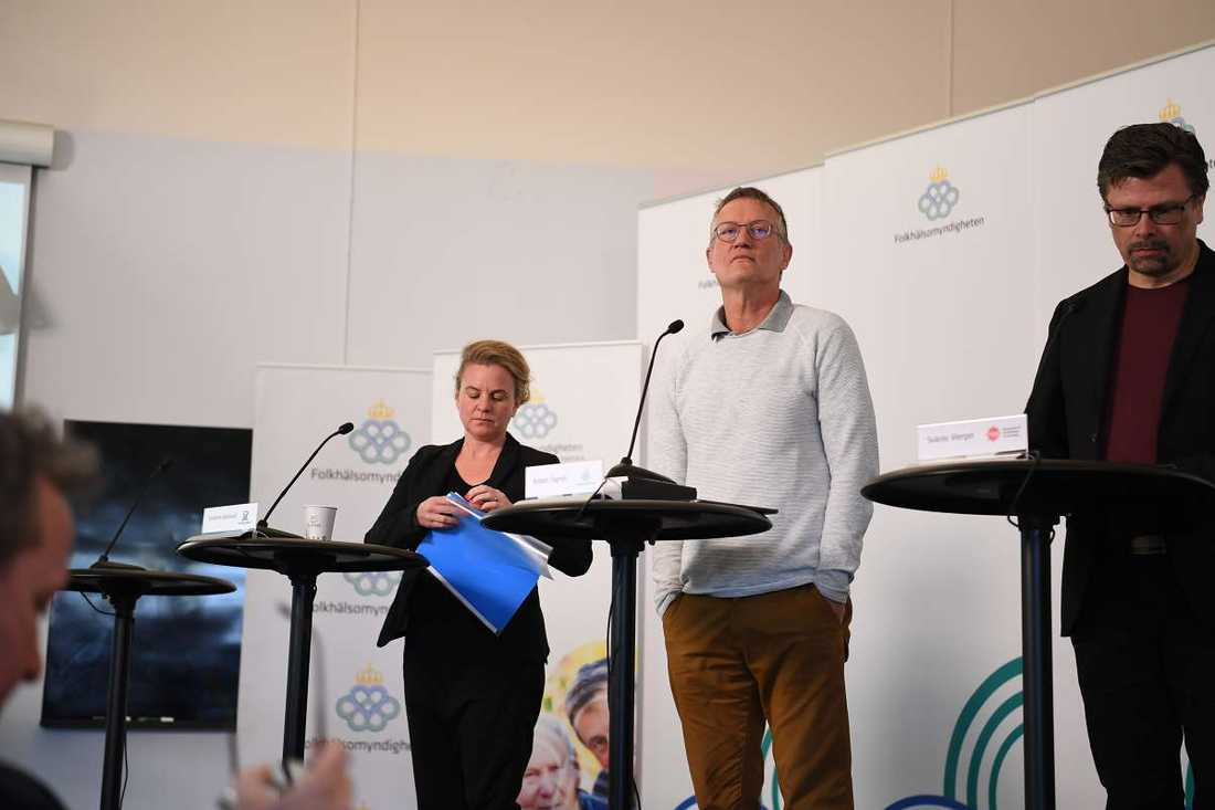 Anders Tegnell på Folkhälsomyndighetens pressträff.