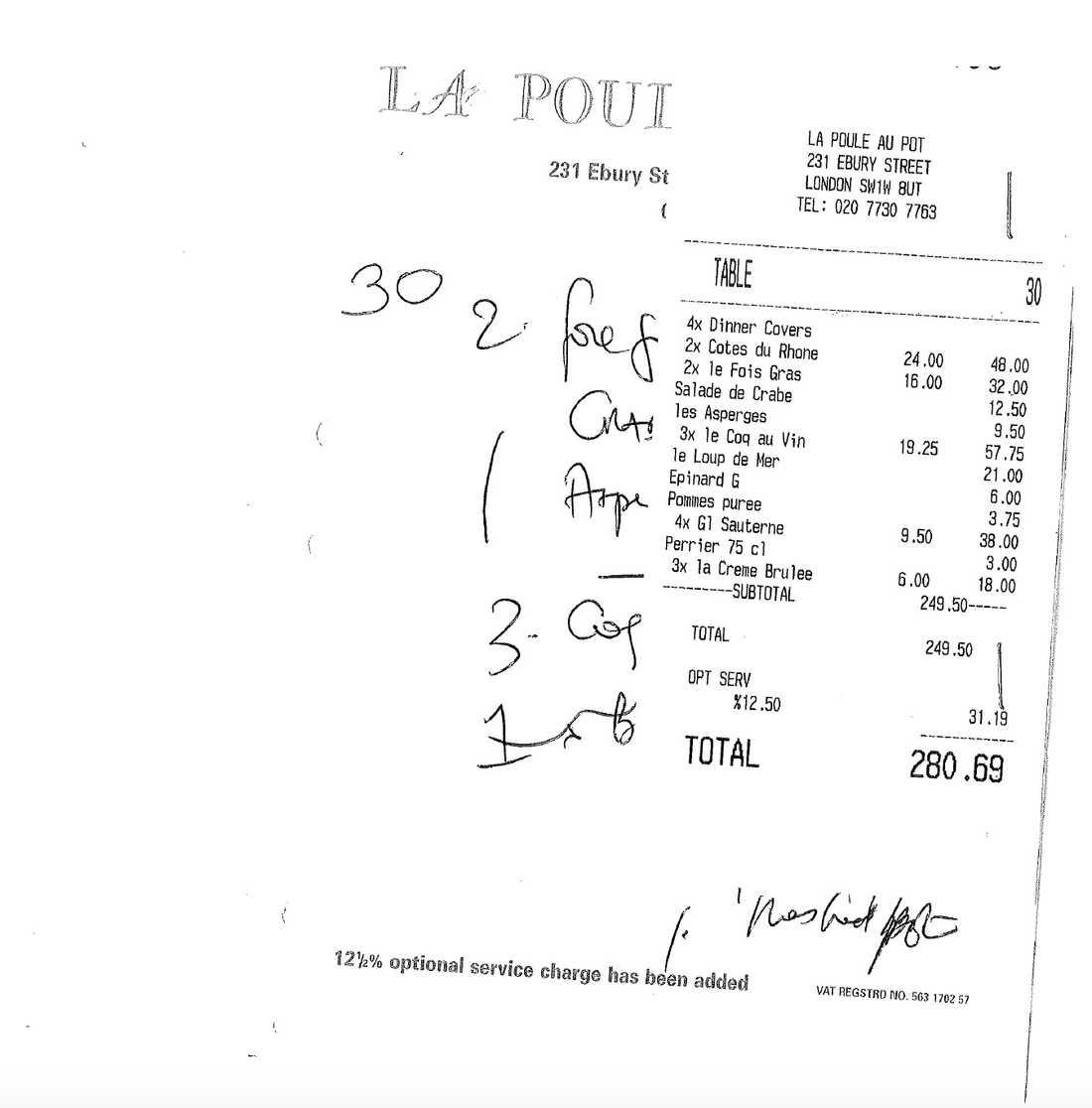 Nota på drygt 3000 svenska kronor från den exklusiva franska bistron Le Puole a Pot i London.