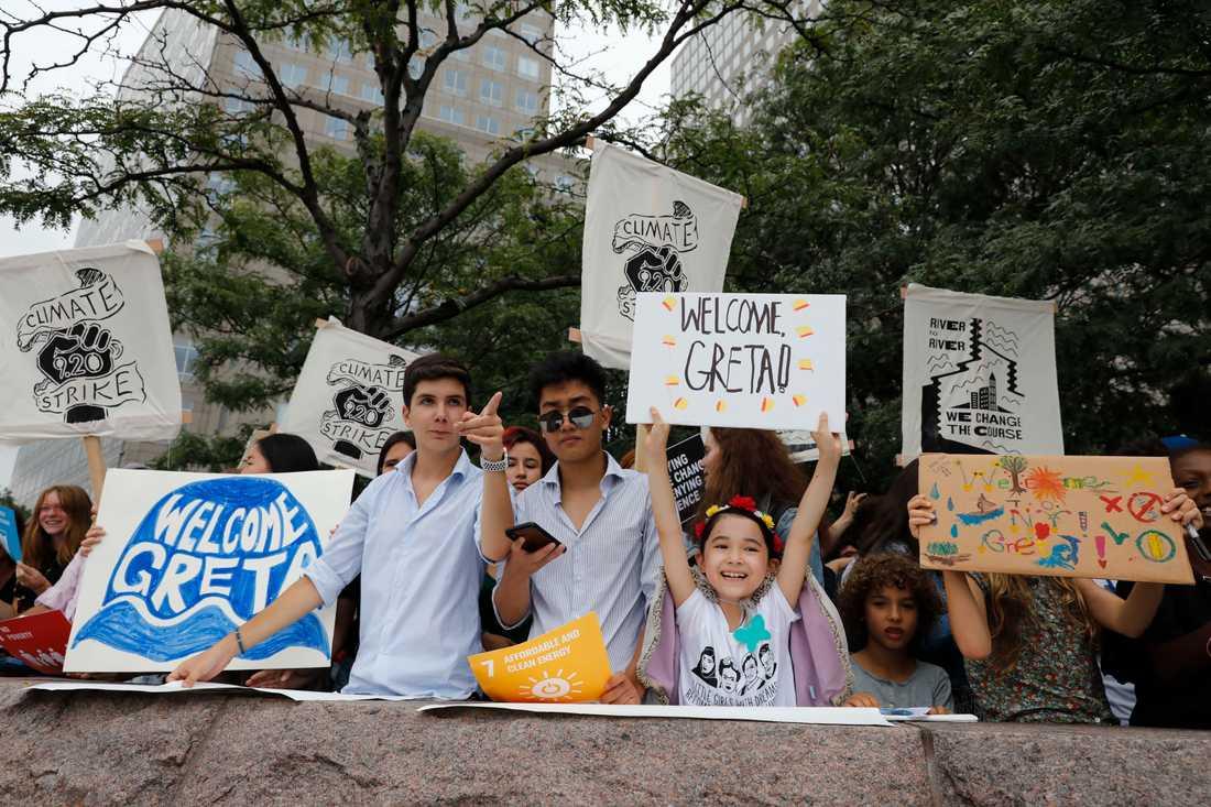 Många ville välkomma Greta Thunberg till New York.