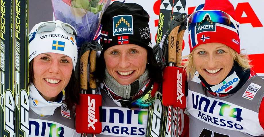 Charlotte Kalla, Marit Björgen och Vibeke Skofterud.
