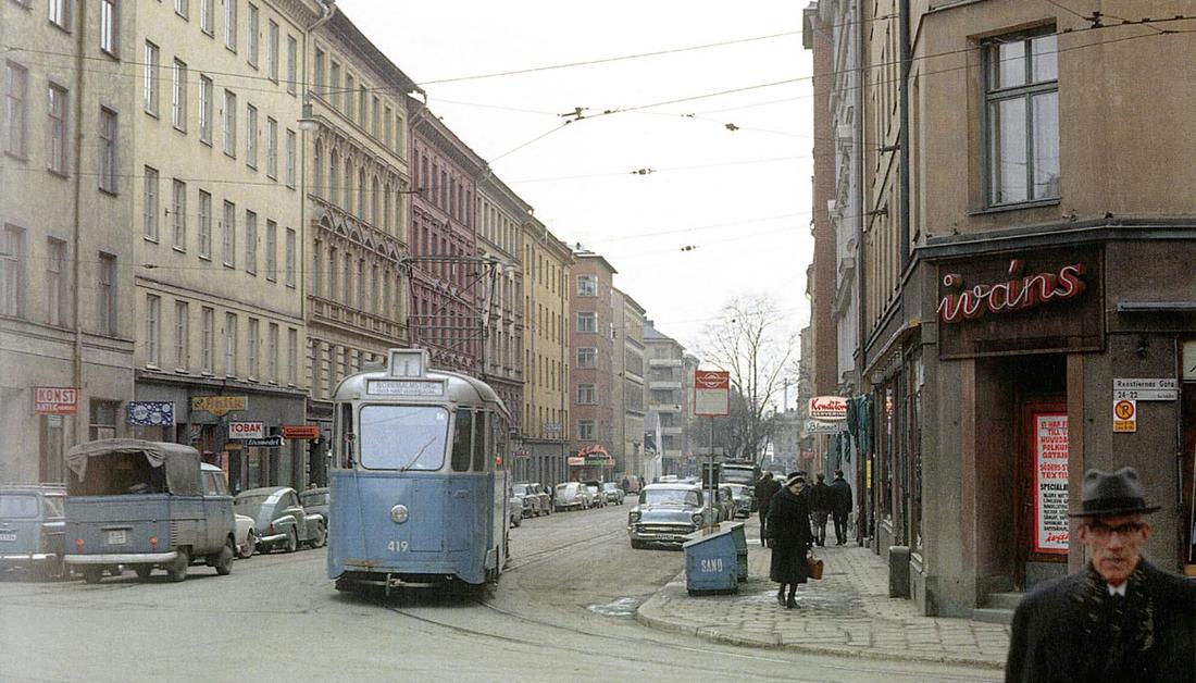 Åsögatan västerut från Renstiernas gata 1964.