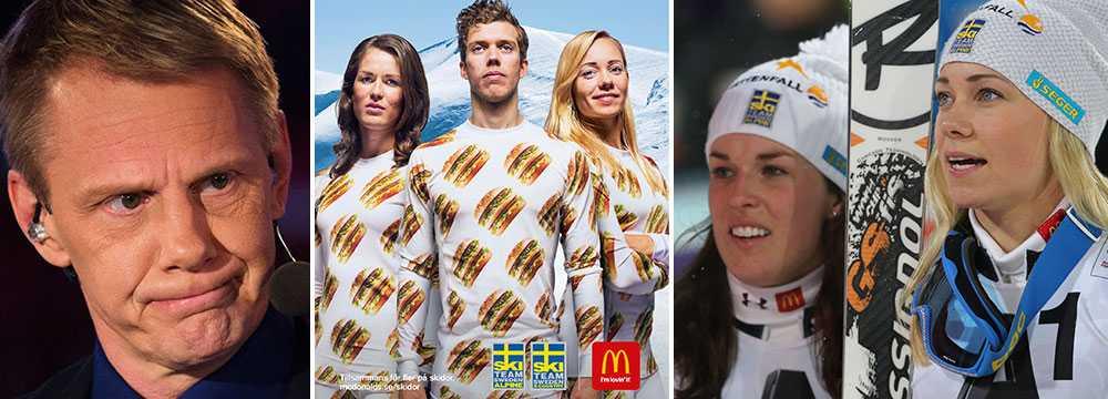 I mitten poserar Maria PH, Marcus Hellner och Frida Hansdotter i sina hamburgar-dräkter.
