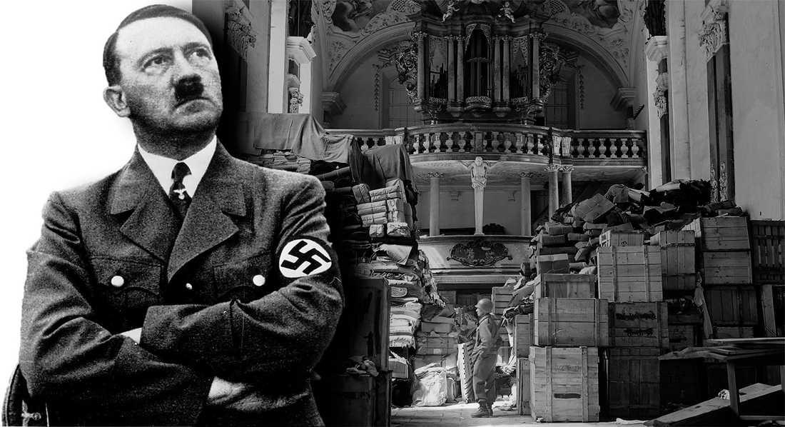 konstgömma april  1945 Adolf Hitler planerade ett storslaget konstmuseum i Linz. En amerikansk soldat i en kyrka i tyska Elligen som tjänat som upplag för konst som stulits från judar och konsthandlare. Foto: TT