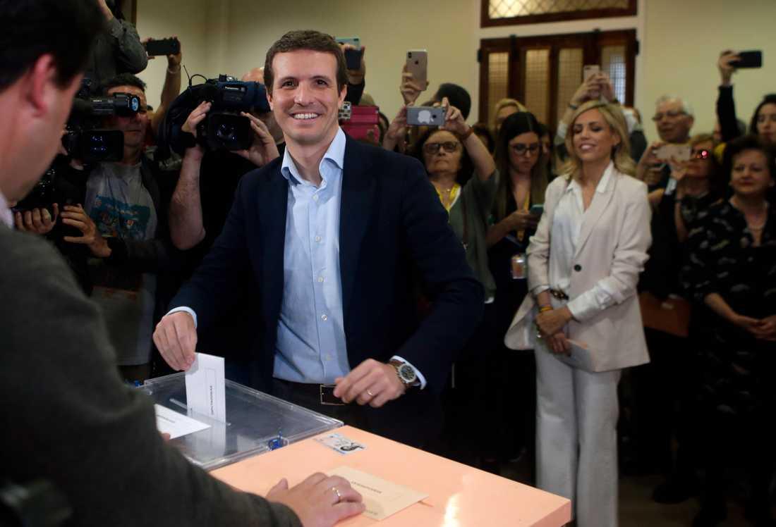 Partido Populars ledare Pablo Casado röstade i Madrid.
