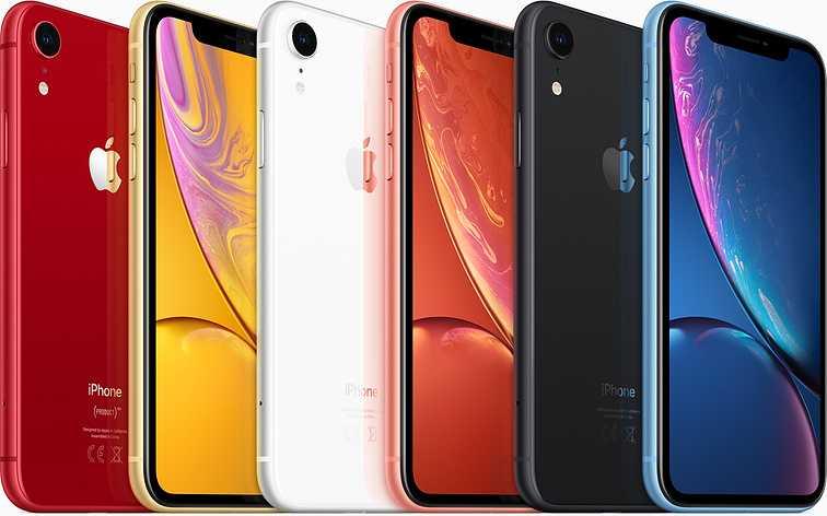 Iphone Xr finns i svart, vit, korall, blå, gul och röd.