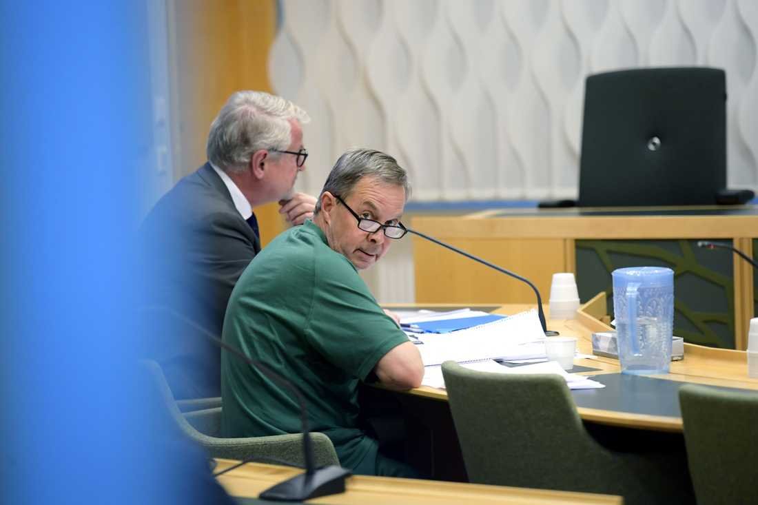Karl Hedin under häktningsförhandlingarna i oktober 2018.