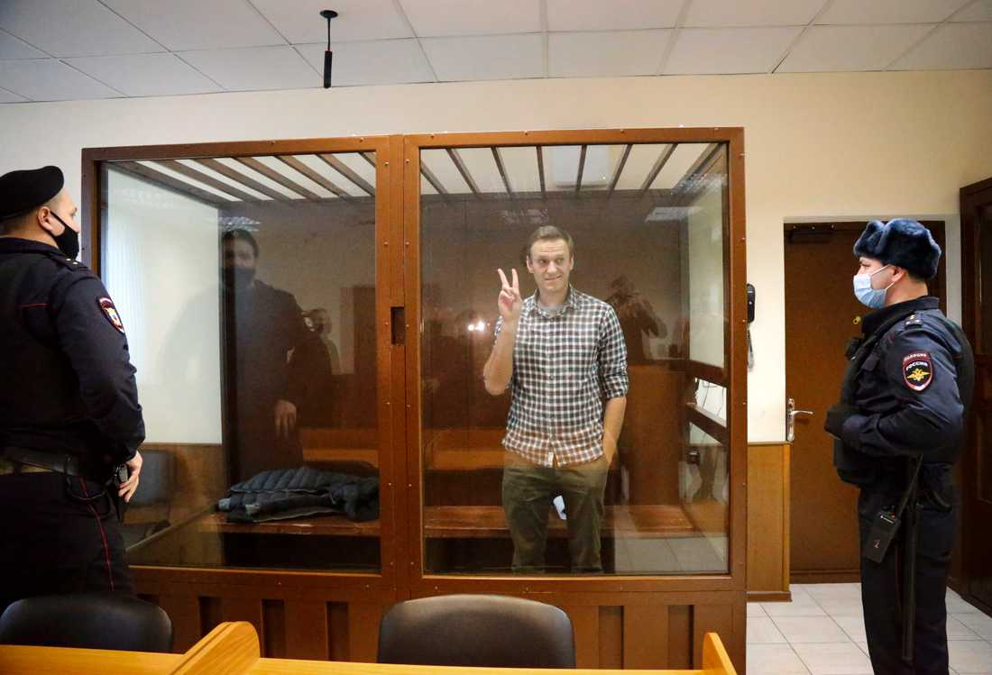 Regimkritiker Aleksej Navalnyj vid rättegången i Moskva. Arkivbild.