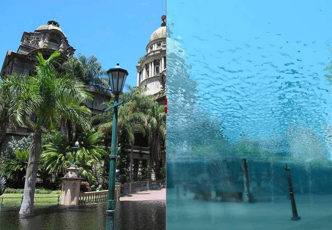 Stad under vatten Durban i Sydafrika är en av städerna som hamnar under vatten om klimatet skenar.