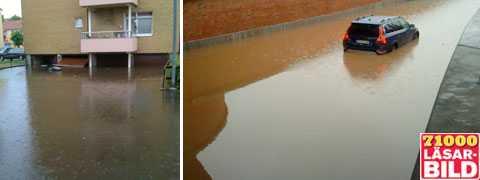 Garage ligger under vatten i Ronneby och vattenfylld viadukt i Skänninge.
