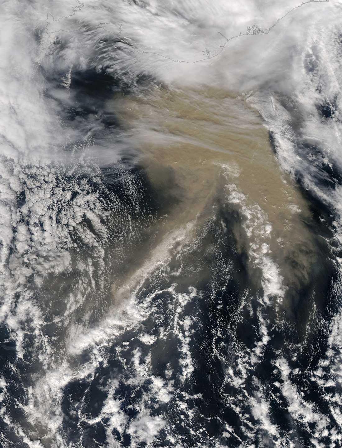 Den här bilden från NASA visar plymen av askafrån Grimsvötn.