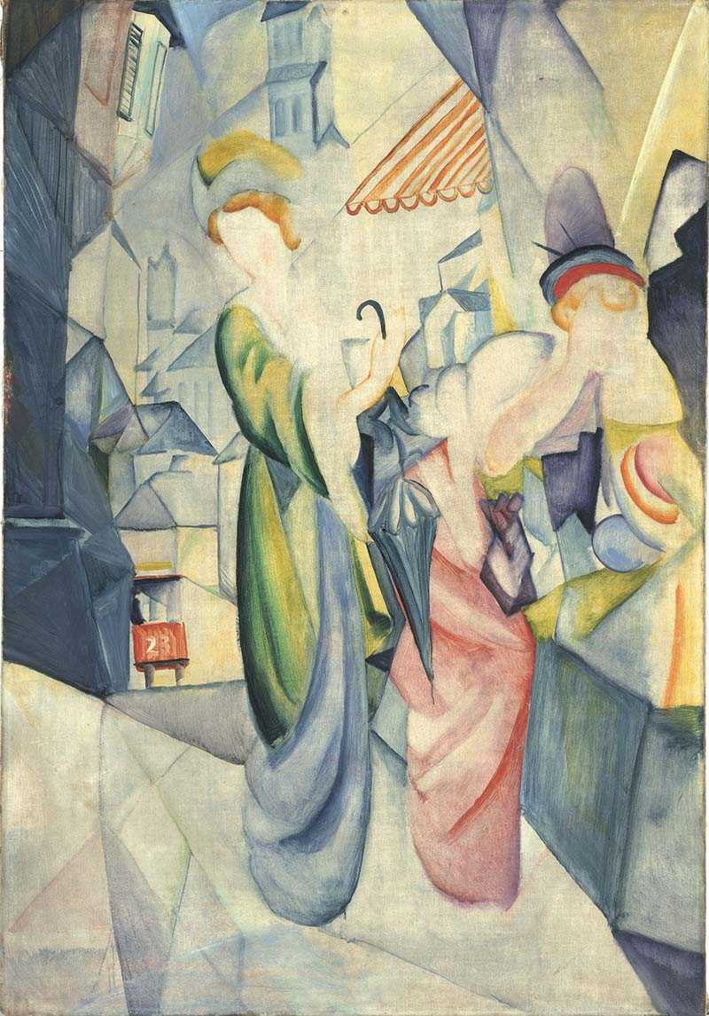 August Macke, Bleka kvinnor framför hattaffär, 1913 Collection Osthaus Museum Hagen.