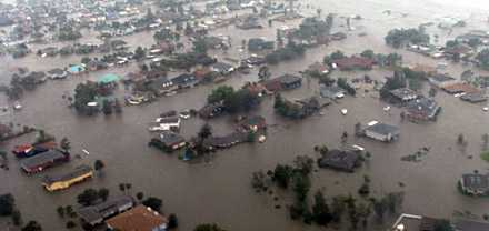 I New Orleans östra delar blev det översvämning.