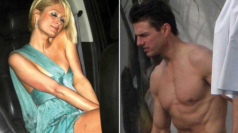 Kroppsligt Paris Hilton med blåmärke på låret och Tom Cruise med superdeffad kropp.