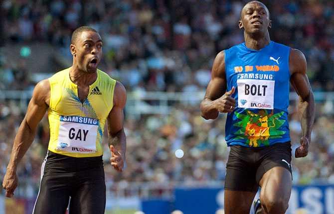 Tyson Gay mot Usain Bolt under DN-galan 2011. En duell som Gay vann på tiden 9,84.