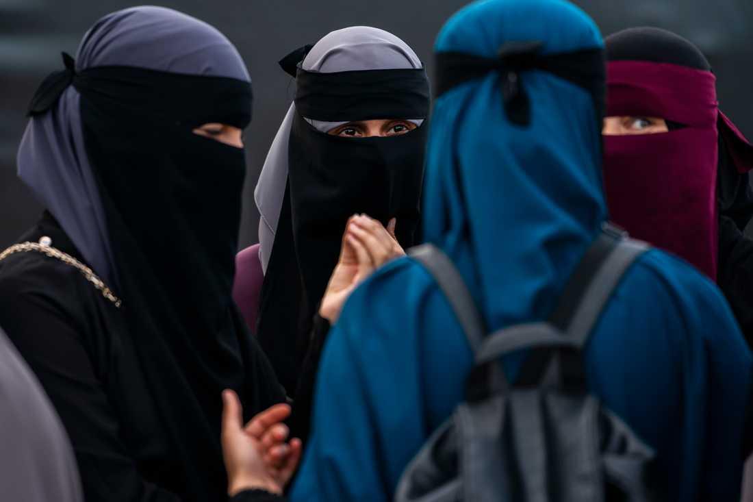 Demonstration i Köpenhamn augusti 2018 mot det då nyligen införda så kallade burkaförbudet. Arkivbild.