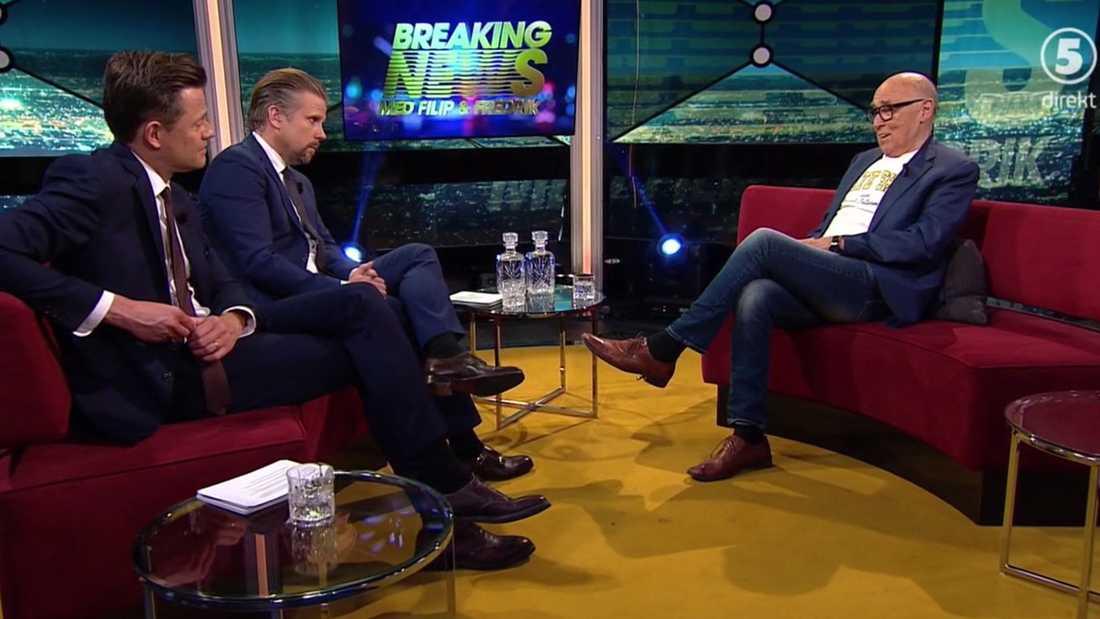 """Ingvar Oldsberg hos Filip och Fredrik i """"Breaking news""""."""