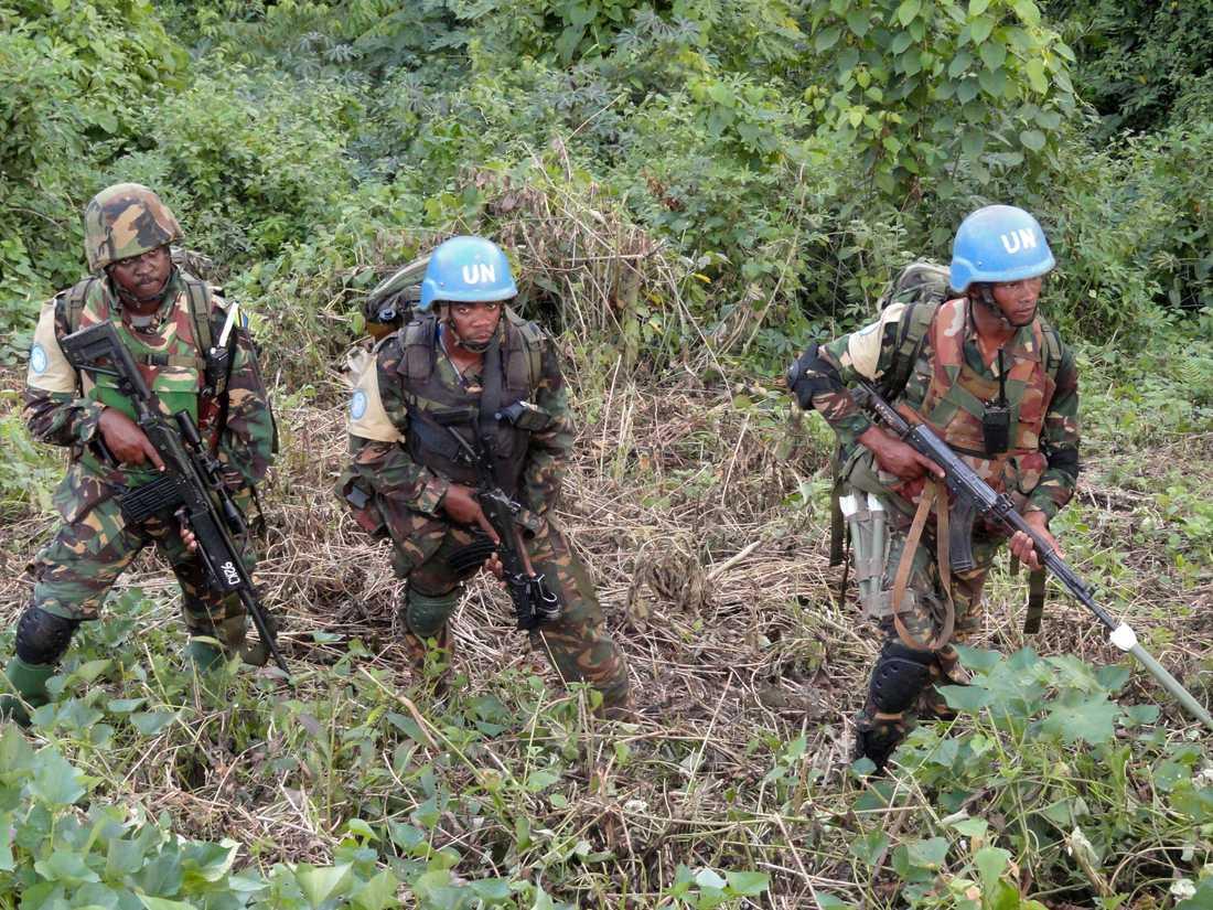 FN-styrkor deltar i en insats mot bland andra extremiströrelsen ADF i Kongo-Kinshasa 2016. Arkivbild.
