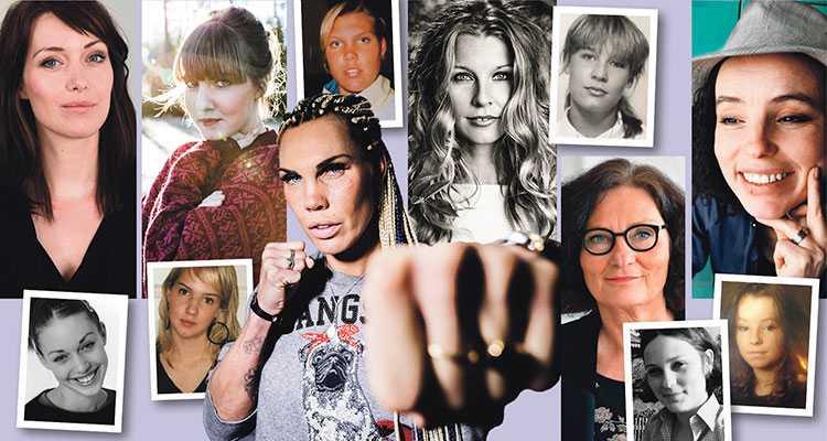 Då och nu. Debattörerna i dag – och som tonåringar. Från vänster Johanna Wester, Clara Lidström, Mikaela Laurén, Pernilla Andersson, Ebba Witt-Brattström  och Lo Kauppi.