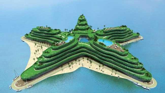 Den stjärnformade ön The Greenstar ska rymma hotell och konferensanläggning. Här finns också stränder och kajer och strax intill ska en flytande restaurang finnas.