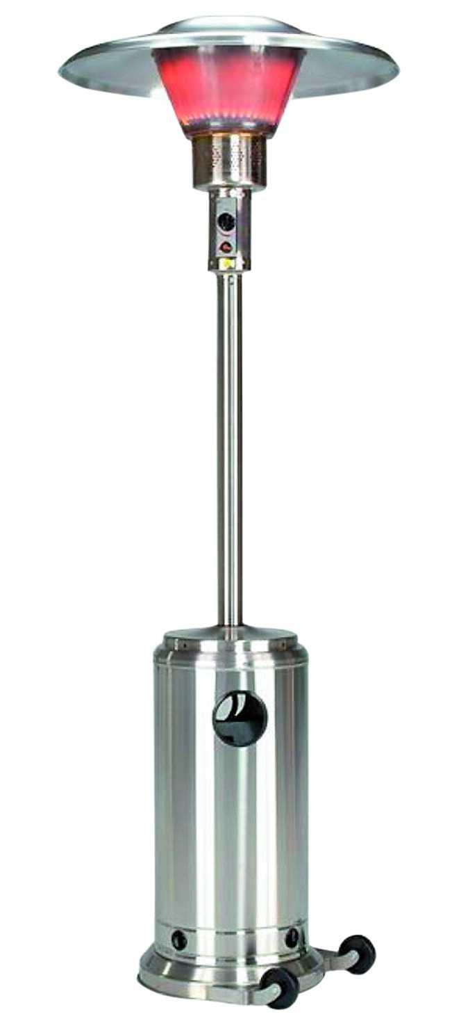 Rejäl pjäs i form av gasolvärmare för uterummet. Kromat utförande, tre effektnivåer. Outdoor living, 2 995 kr.